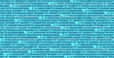 pi digits on light blue