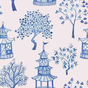Pagoda Forest- Blues on pale pink