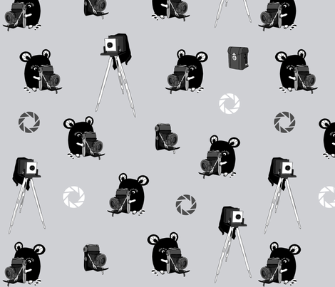 Vintage photography, camera mouse fabric by peikonpoika{by}brunou on Spoonflower - custom fabric