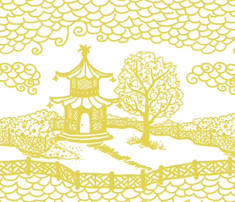 Pagoda Cloud- Citron on White fabric by danikaherrick on Spoonflower - custom fabric
