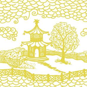 Pagoda Cloud- Citron on White