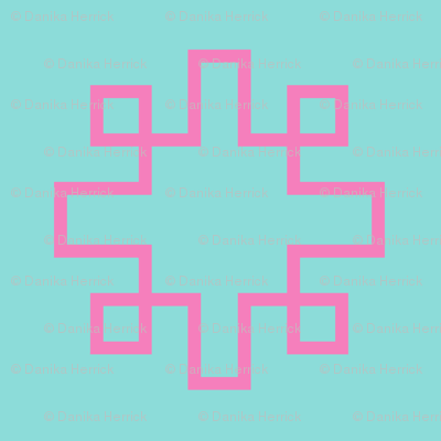 Greek Key squares turquoise and pink
