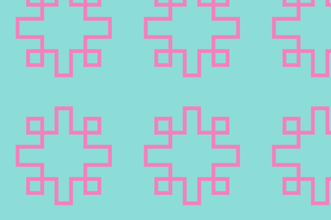 Greek Key squares turquoise and pink fabric by danikaherrick on Spoonflower - custom fabric