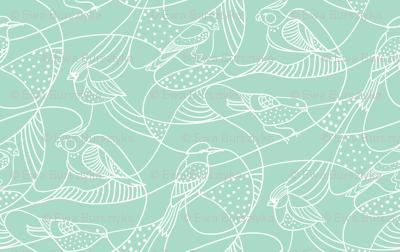 Hidden birds - mint