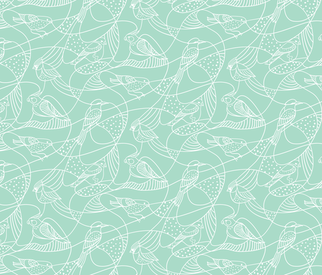 Hidden birds - mint fabric by ravynka on Spoonflower - custom fabric