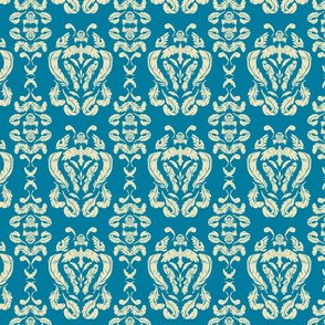 Bird Damask Blue Medium