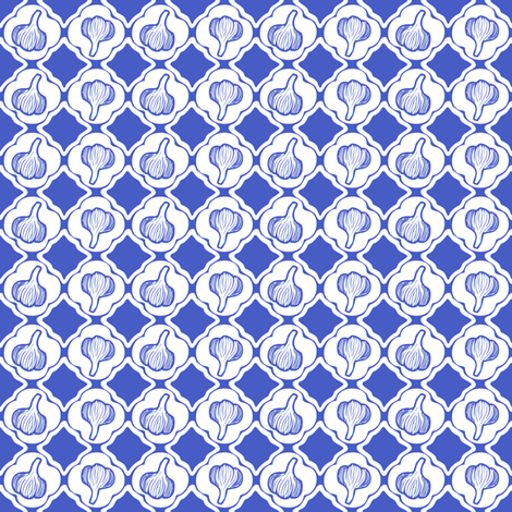 Garlic Trellis Navy and White fabric by lulabelle on Spoonflower - custom fabric