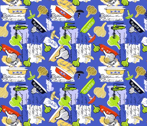 Julia's Kitchen - Blue fabric by lulabelle on Spoonflower - custom fabric