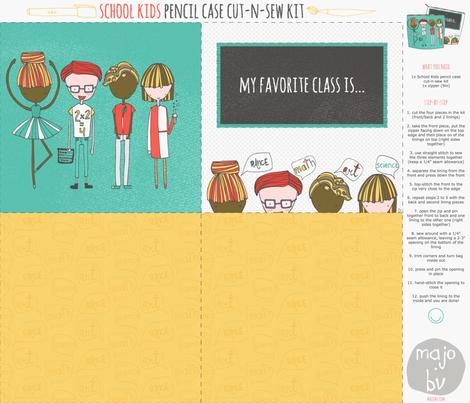 School Kids Pencil Case Cut-n-Sew Kit fabric by majobv on Spoonflower - custom fabric