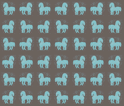 Aqua/Blue Ponies on warm gray fabric by bad_penny on Spoonflower - custom fabric