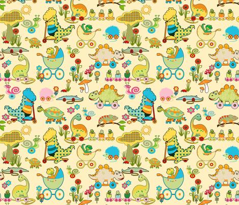 Dinos Kindergarden /  In Pastell fabric by mariskadesign on Spoonflower - custom fabric