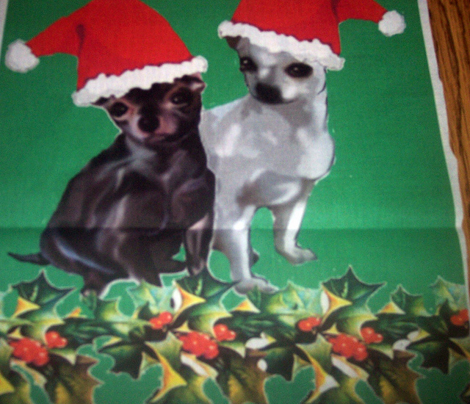 Chihuahua Christmas fabric