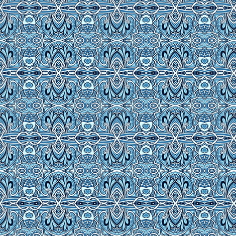 Swirly Blue Delft horizontal stripe fabric by edsel2084 on Spoonflower - custom fabric