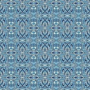 Swirly Blue Delft horizontal stripe