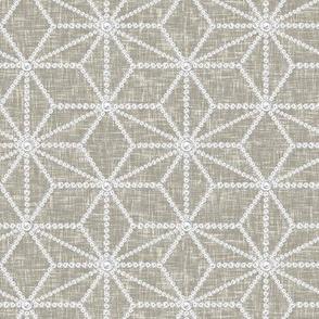 (NOW LARGER) Hemp leaf pattern pearls on greige by Su_G