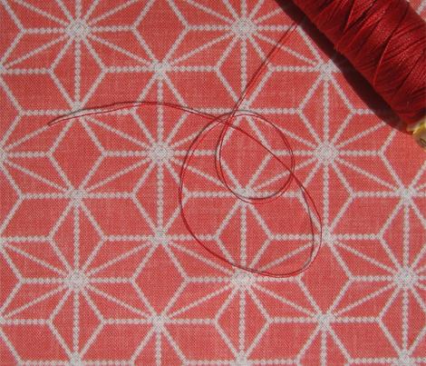 Pearls in a hemp leaf pattern on soft red by Su_G