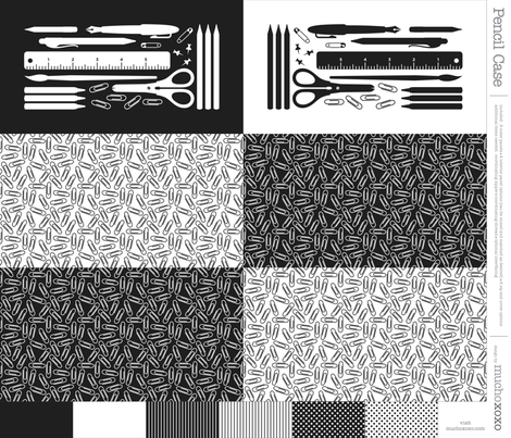 cut & sew pencil case : black + white fabric by muchoxoxo on Spoonflower - custom fabric