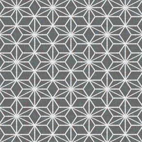 Hemp leaf geometric pattern pearls on mid-gray by Su_G