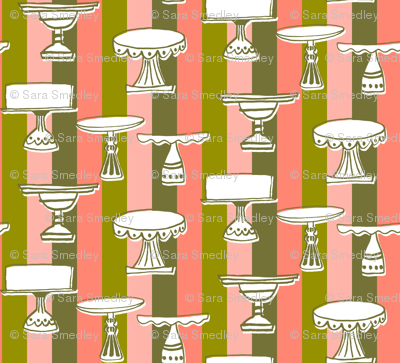 cake plates on party stripes