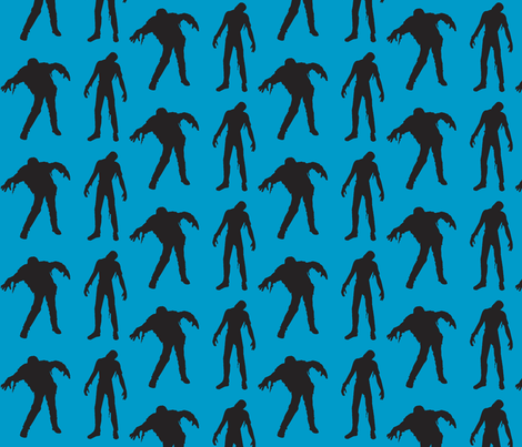 Large Silhouette of the Walking Dead-blue fabric by threadandthimble on Spoonflower - custom fabric