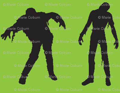 Green silhouette of the walking dead