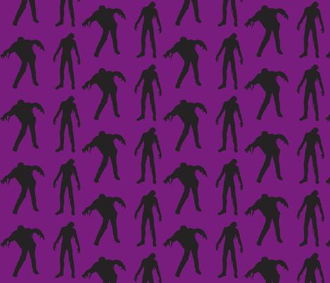 Purple Large silhouette of the walking dead fabric by drunkengnomediy on Spoonflower - custom fabric