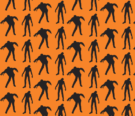 Large Silhouette of the Living Dead orange fabric by drunkengnomediy on Spoonflower - custom fabric