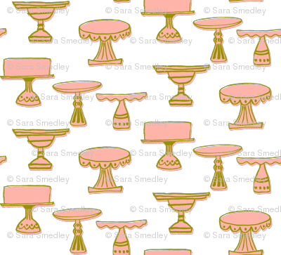 cake plates - green & pink