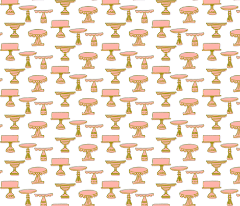 cake plates - green & pink fabric by sara_smedley on Spoonflower - custom fabric