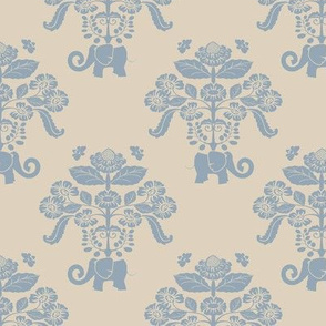 Elephants in My Garden Damask Version 1