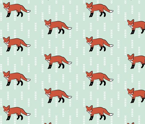 Fox On Mint fabric by mrshervi on Spoonflower - custom fabric