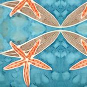 Orange Starfish with Brilliant Blue Ocean
