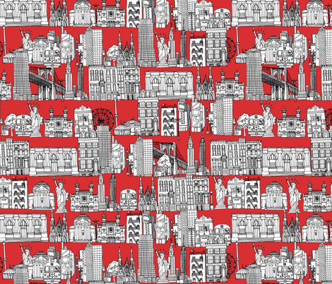 New York red fabric by scrummy on Spoonflower - custom fabric