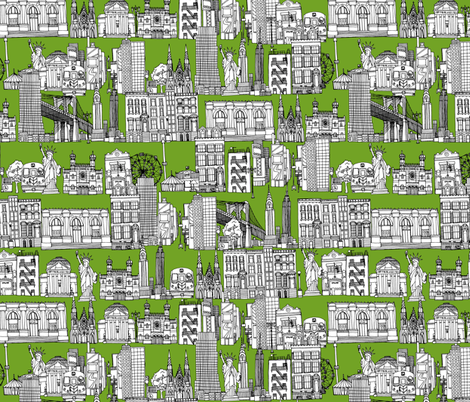 New York green fabric by scrummy on Spoonflower - custom fabric