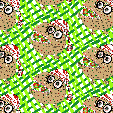 Christmas Fruitcake Monster fabric by amy_g on Spoonflower - custom fabric