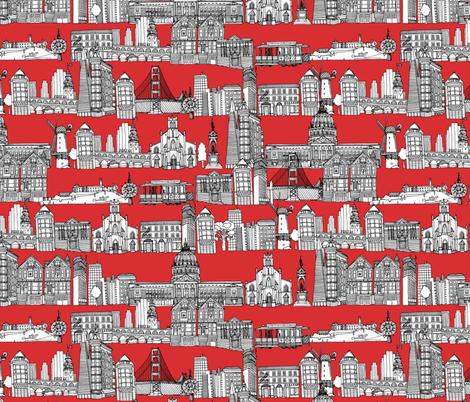 San Francisco red fabric by scrummy on Spoonflower - custom fabric