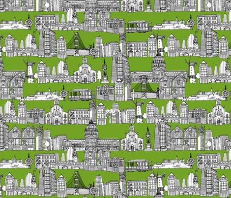 San Francisco green fabric by scrummy on Spoonflower - custom fabric