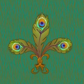 peacock fleurdelis 2 bronze large