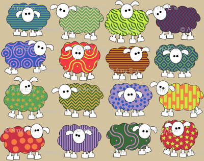 patterned sheep on beige, making big eyes at you