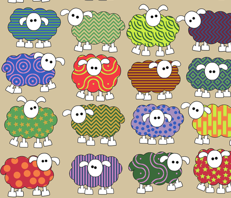 patterned sheep on beige, making big eyes at you fabric by engelbam on Spoonflower - custom fabric