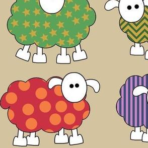 patterned sheep on beige, making big eyes at you