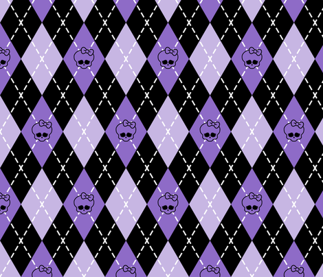 Monster High - Purple rhombus (argyle) fabric by analinea on Spoonflower - custom fabric