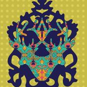 Polka Lotus with Antelope