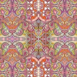 A Tangle of Pink and Orange Romance Tied with Yarn