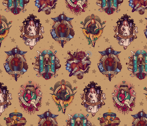 All Those Bright and Shining Companions - Smaller fabric by meganlara on Spoonflower - custom fabric