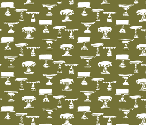 cake plates - white & moss green fabric by sara_smedley on Spoonflower - custom fabric