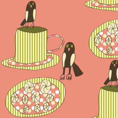 Little Owls Drinking Tea fabric by heartfullofbirds on Spoonflower - custom fabric