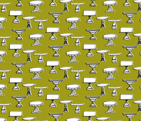 cake plates - white & bright green fabric by sara_smedley on Spoonflower - custom fabric