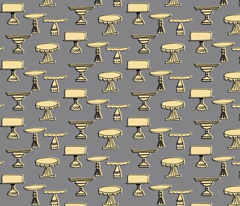 cake plates - cream & gray fabric by sara_smedley on Spoonflower - custom fabric