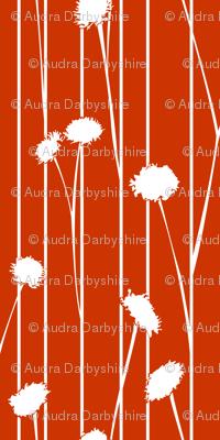 Pom Flower Stems Red Orange